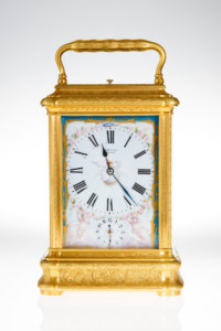 Giant French Porcelain Panel Carriage Clock